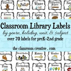 Here's our massive classroom library labels organization pack! Over 70+ book bin labels for PreK, Kindergarten, first grade, and second grade!  #classroomorganization