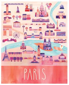 Gorgeous map of #Paris from http://www.marisaseguin.com/