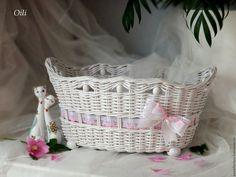 """Купить корзинка плетеная в стиле """"Шебби-шик"""" - белый, корзинка плетеная…"""
