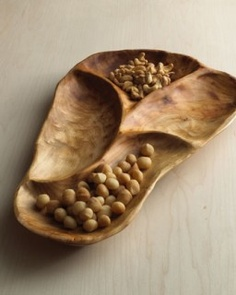natural wood carved serving tray