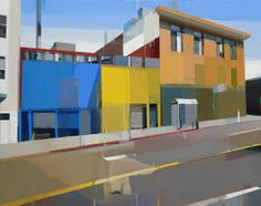 """Suhas Bhujbal, """"A Quiet Town 106,"""" oil on canvas, 40 x 50 in."""