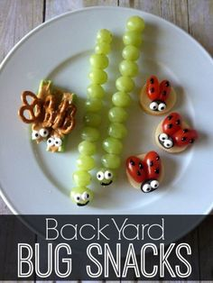 Backyard Bug Snacks- make it easy:  celery, peanut butter or cream cheese, add raisins to make Ants on a Log, add two mini pretzel wings and two raisin eyes to make Dragonflies.