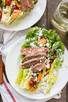 This Steak and Blue Cheese Salad with bruschetta cherry tomatoes is the perfect summer meal.