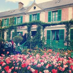 Famous gardens of impressionist painter Claude Monet in Giverny, house, water garden and flower garden.
