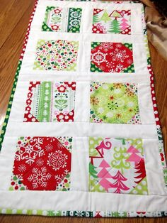 Funky Christmas Table Runner by SoBella, - this would be a quick quilt pattern-also tune up those quilt tops