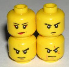 LEGO 4 Yellow Ninjago Minifigure Heads Kai, Zane, Jay, Samurai X Nya Female