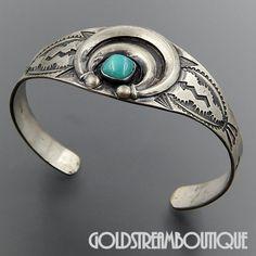 Native American Vintage Navajo Sterling Silver Turquoise Naja Arrows Lightning Cuff Bracelet