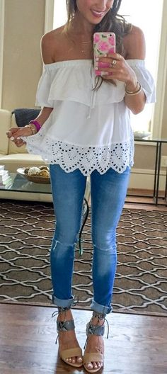 #spring #outfits  White Off The Shoulder Blouse & Bleached Skinny Jeans