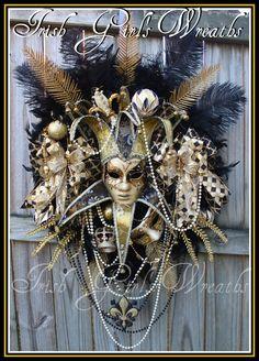 HUGE Black & Gold Christmas New Years Mardi Gras Wreath, New Orleans, Venetian Mask, Carnival Season XXL, Saints, Fleur de Lis, Masquerade by IrishGirlsWreaths on Etsy https://www.etsy.com/listing/252070689/huge-black-gold-christmas-new-years
