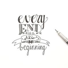 calligraphy quotes every end is a new beginning dag dutchlettering . Hand Lettering Quotes, Doodle Lettering, Calligraphy Quotes, Creative Lettering, Calligraphy Letters, Doodle Quotes, Drawing Quotes, Journal Quotes, Bullet Journal Inspiration