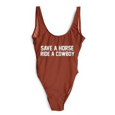 $12.35 (Buy here: alitems.com/... ) SAVE A HORSE RIDE A COWBOY Swimwear One-Piece Swimsuit 2017 Women Sexy High Cut Thong Bathing Suit Beachwear Tracksuit for just $12.35