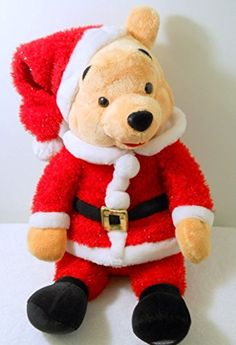 Winnie the Pooh Bear Santa Red Suit Cap Black Belt Sparkly Smile Plush Disney Winnie The Pooh Plush, Disney Winnie The Pooh, Christmas Items, Christmas Fun, Santa Suits, Red Suit, Gold Fabric, Pooh Bear, Black Belt