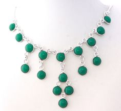 AWESOME LOVE GIFT DESIGNER JEWELRY GREEN ONYX 925 STERLING SILVER NECKLACE 1183 #925silverpalace #Charm