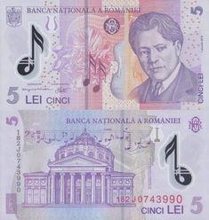 5 Lei Romania 🇷🇴 2005 George Enescu (musico composer) on front