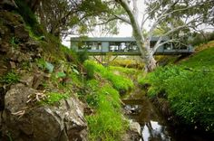 Architecture, Amazing Bridge House Design In Natural Environment By Max Pritchard Architect: House Built Above Small River And Green Environment The Plan, Australian Architecture, Australian Homes, Home Structure, Unique House Design, Modern Design, Minimalist Design, Sustainable Design, Beautiful Places