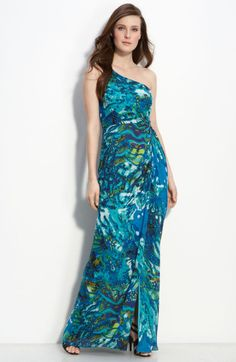 Adrianna Papell One Shoulder Chiffon Gown in Blue (turquoise multi) $178