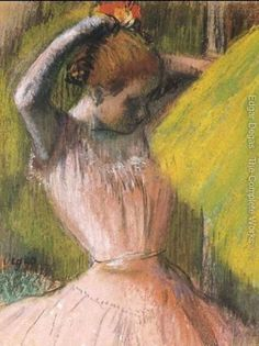 Ballet Corps Member Fixing Her Hair Edgar Degas (French, Pastel on paper, laid down on paper. The audacity of Degas's art during this period was often at odds with the narrowness of his life. In 1890 he took over a large. Edgar Degas, Degas Ballerina, Mary Cassatt, Camille Pissarro, Paul Cezanne, Claude Monet, Ballerine Degas, Degas Paintings, Degas Drawings