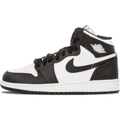 Air Jordan 1 Retro High OG BG ($250) ❤ liked on Polyvore featuring shoes, colorblock shoes, retro style shoes, block shoes, genuine leather shoes and color block shoes
