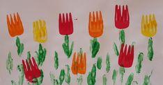 Tulpen drucken, Tulpen basteln, Tulpen malen, Gabeldruck, Drucktechniken, Fingerprint, Fingerdruck, Frühlingsbilder, DIY, Basteln mit Kindern, Kindergarten, Grundschule, Förderschule, Frühling