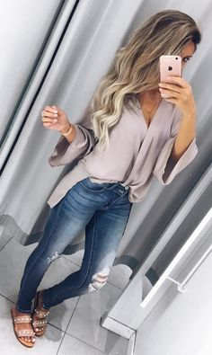 #fall #outfits blue skinny jeans