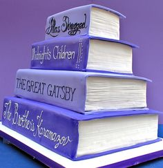 "Book cake I'm thinking my favorite titles in this order: a Dr. Suess book, probably ""The Places You'll Go,"" ""Through the Looking Glass"" then ""Harry Potter"" then ""The Great Gatsby"" then ""The Rum Diary"" and finally a Hemingway book?"
