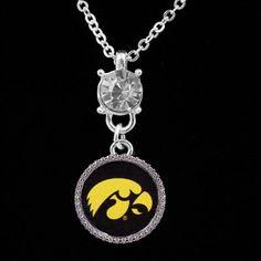Iowa Hawkeyes Ladies Crystal Stud Necklace $12