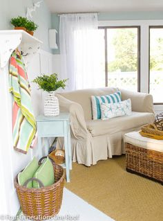 Pool house makeover! HomeGoods shelf for pretty plants and hooks for wet towels!