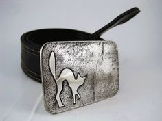 Scaredy Cat Belt Buckle  Etched Stainless Steel  by RhythmicMetal, $60.00