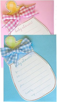 Looking for a unique baby shower invitation? All of your baby shower guests will smile when you ask them to join the mother-to-be by sending these incredibly clever baby bottle invitations. | Rosemary Company