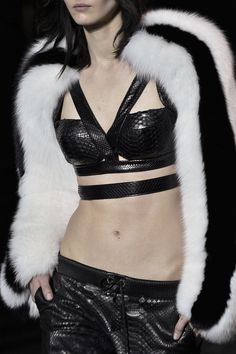 Leather crop top with black & white fur sleeves; sporty fashion details // Philipp Plein Fall 2015