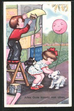 "carte postale ancienne: CPA Illustrateur Margret Boriss: ""Alles Gute kommt von oben"""