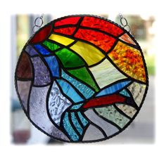 RESERVED Kingfisher Rainbow Ring Stained Glass Suncatcher  £35.00
