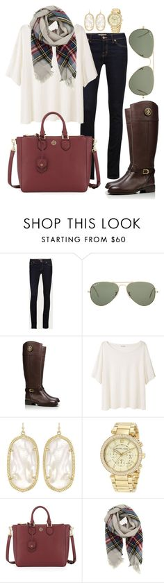 """Fall hues"" by pretty-and-preppy ❤ liked on Polyvore featuring J Brand, Ray-Ban, Tory Burch, Acne Studios, Kendra Scott, Michael Kors and Forte Forte"