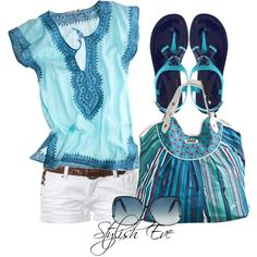 love the blue tunic and sandals