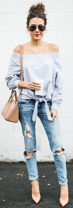 Grey Fall Off The Shoulder Top + Ripped Jeans Source