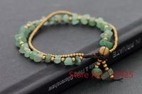 Jade Double Stand Bracelet with wax cord 100% handmade woven thai style brass bell closure bracelet for women,5pcs/lot