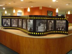 Filmstrip..much smaller version with favorite movies and brides and grooms pictures...all in black and white of course