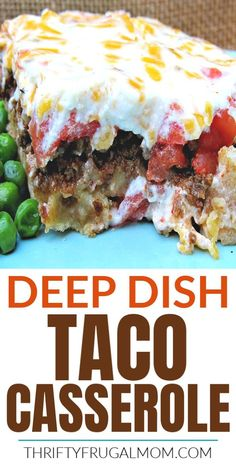 This easy Deep Dish Taco Casserole recipe combines layers of sour cream cheese tomatoes and ground beef on top of a simple tasty crust for a delicious kid friendly dinner! It's SO delicious! Taco Casserole, Slow Cooker Casserole, Easy Casserole Recipes, Easy Dinner Recipes, Easy Meals, Taco Bake, Deep Dish, Meat Recipes, Cooking Recipes