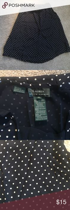 Ralph Lauren silk polka dot skirt Cute polka dot navy blue and white skirt by Ralph Lauren in size 10. Skirt is like new , only flaw is that it has a pull. See pic 3, other wise in excellent condition. Is fully lined under. 💯 silk, dry clean only. Original $185 . Will be priced accordingly. Lauren Ralph Lauren Skirts A-Line or Full