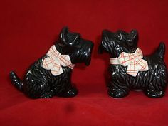 Black Scottish Terriers with Tartan Bows Salt and Pepper Shakers | eBay