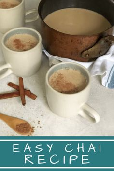 Easy Chai Recipe: Chai a milky deeply spiced and lightly sweetened tea is a comforting brew if ever there was one. Simply steep ginger and spices with black tea honey and sugar add milk and pour. It's a perfect way to treat yourself or a loved one. Fall Recipes, My Recipes, Sweet Recipes, Favorite Recipes, Drink Recipes, Easy Chai Recipe, Recipe For Mom, Coconut Almond Milk, Black Tea Bags