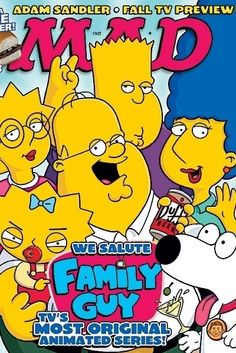 "The typeface of the word ""MAD"" matches the typeface of the word, ""Family Guy"". The colors  in MAD are also in Family Guy. The typography is bubbly and it gives the appearance of a fun magazine."