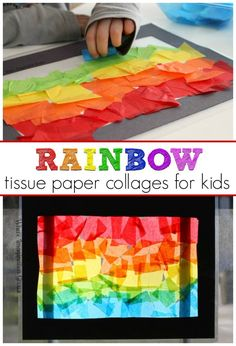 Spring Rainbow Craft for Kids Simple tissue paper stained glass rainbow suncatchers toddlers and preschoolers can make Easy Spring Crafts for Kids Spring Crafts Ideas for Kids Spring Kids Crafts Spring Art Projects, Spring Crafts For Kids, Paper Crafts For Kids, Projects For Kids, Art For Kids, Arts And Crafts, Craft Kids, Spring Crafts For Preschoolers, Simple Crafts For Kids