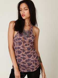 Free People Printed Lacy Knit Tank, $48.00..... I waaaannttt......