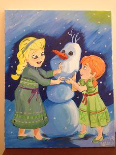 Build a snowman by Cesar Olleres. Oil on canvas. 4-30-2014