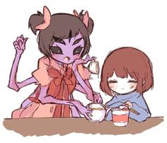 Undertale fanart Muffet and Frisk <<< this is neat