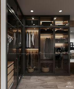 Elegant Luxury Walk-In Closets Glass Wardrobe, Wardrobe Room, Wardrobe Design Bedroom, Master Bedroom Closet, Luxury Wardrobe, Luxury Closet, Walk In Closet Design, Closet Designs, Dressing Room Design