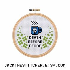 Death Before Decaf Subversive Modern Cross Stitch Template Pattern Instant PDF Download by JackTheStitcher on Etsy https://www.etsy.com/listing/253824872/death-before-decaf-subversive-modern