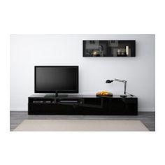 BESTÅ TV storage combination/glass doors - black-brown/Selsviken high gloss/black clear glass, drawer runner, soft-closing - IKEA