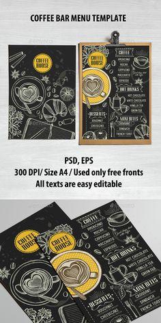 Coffee Bar Menu Template PSD, Vector EPS. Download here: http://graphicriver.net/item/coffee-bar-menu-template/15146462?ref=ksioks